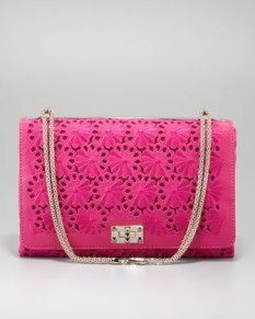 Valentino – Floral Lace Cutout Shoulder Bag, Pop Fuchsia