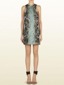 Gucci – Light Green Jacquard Python Motif Tunic Dress