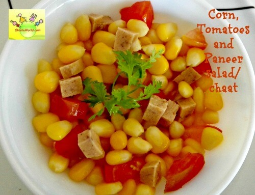 Corn, paneer  and tomatoes chaat