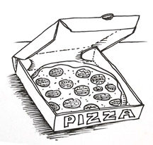 How to draw a pizza in a Pizza Box | Shoo Rayner
