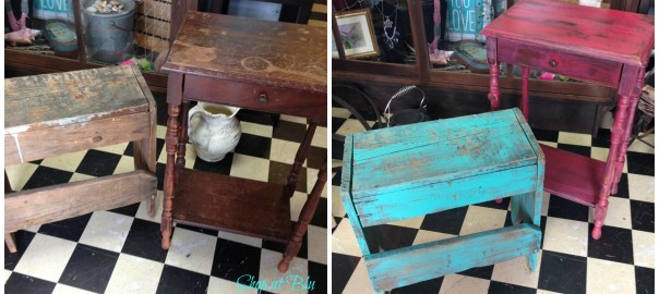 teal bench coral table