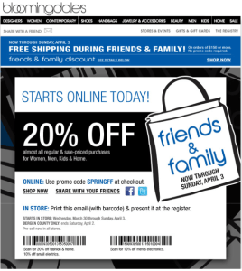 Bloomingdales Friends & Family Sale 2011