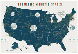 Breweries of the United States Map