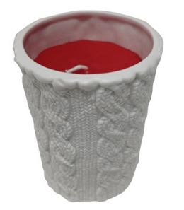 sweater textured ceramic candle