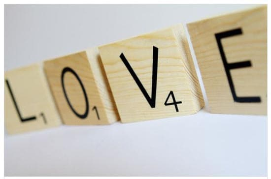 Love Scrabble Tiles from Embellished Living