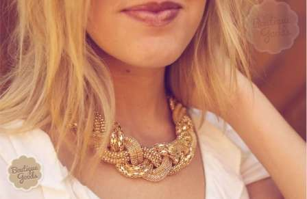 gold woven necklace- groopdealz