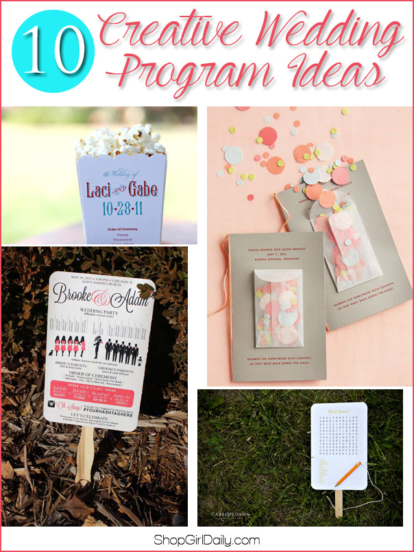 10 Creative Wedding Program Ideas