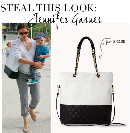Jennifer Garner's black and white tote for less