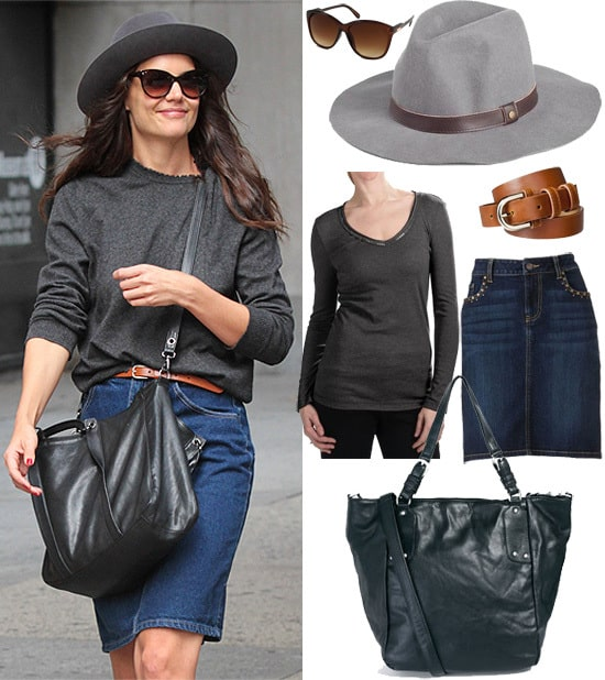 Steal this Look: Katie Holmes Jean Skirt