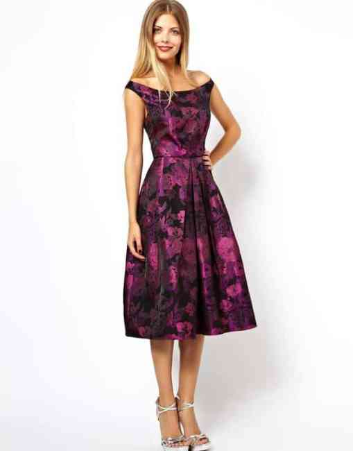 ASOS Purple Flower Bardot Dress