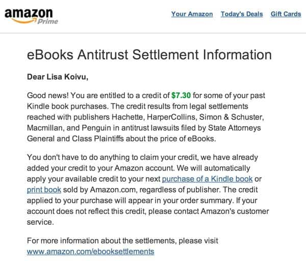 Amazon Antitrust Settlement: Possible Free Book Credit