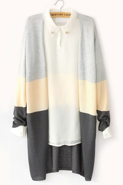 color block cardigan oasap