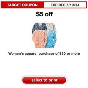 Target Apparel Coupon: $5 Off $30