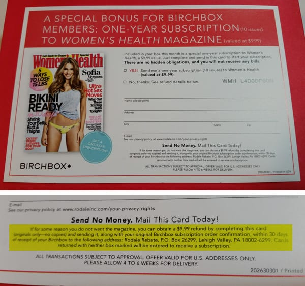 Women's Health Birchbox: Free Magazine or Refund