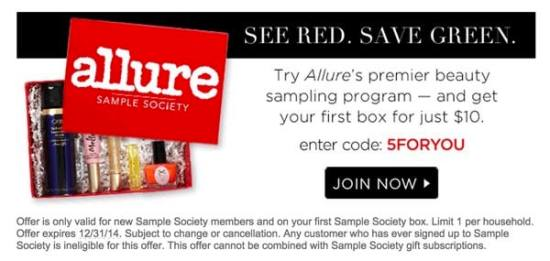Allure Sample Society: First Box for $1