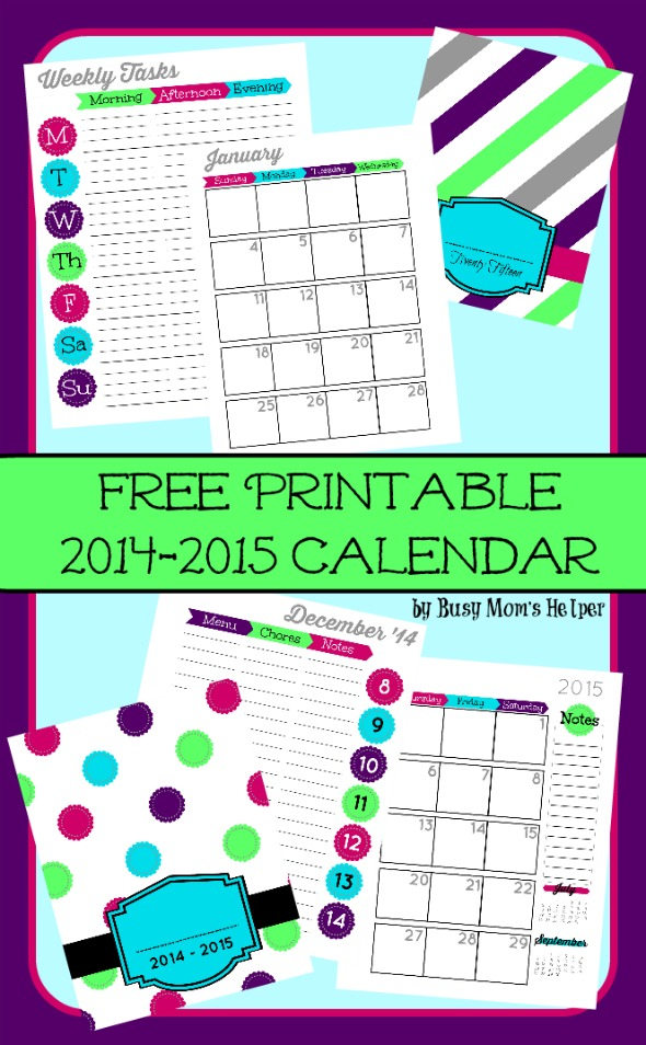 Free 2015 Printable Planner from Busy Mom's Helper