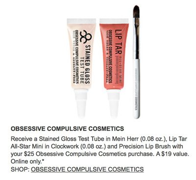Obsessive Compulsive Cosmetics free gift with purchase