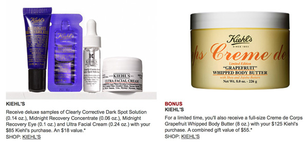Free Kiehl's gifts at Nordstrom