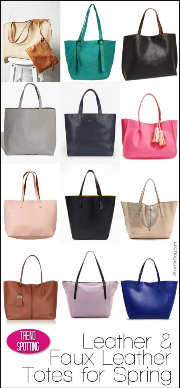 Leather and Faux Leather Totes for Spring