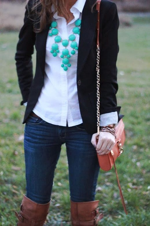 Outfit featuring a black blazer from Anderson and Grant