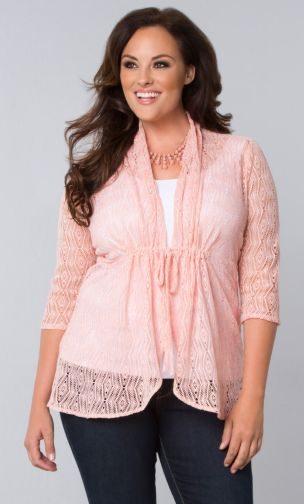 Kiyonna Bohemian Crochet Bellini in Blushing Pink