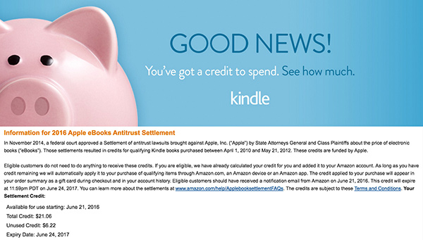 Amazon Credit from eBook Settlement