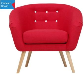 Jemima Tub Chair Red and Grey Button