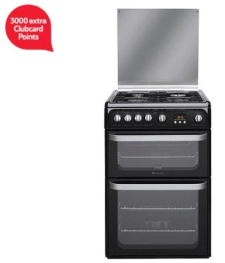 Hotpoint Ultima Gas Cooker with Gas Grill and Gas Hob, HUG61K - Black
