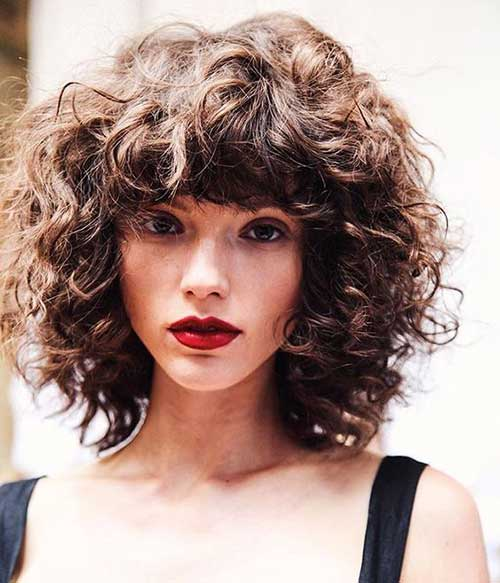 Hairstyle for Short Curly Hair With Bangs