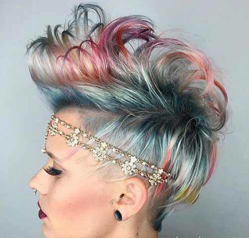 Mermaid Bright Hair Colour Party Hairstyles For Short