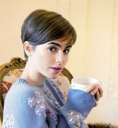 Lily Collins Cute Short Hairstyle
