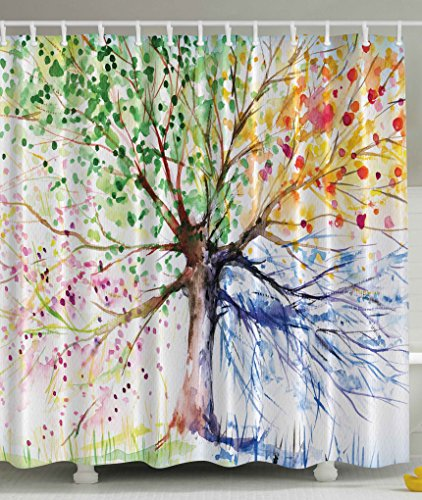 extra brown and red shower curtain. 61Nrr3VKtdL Colorful Tree Four Seasons Bath Decorations Bathroom Decor Sets