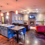 Kitchen flows to living room/great room