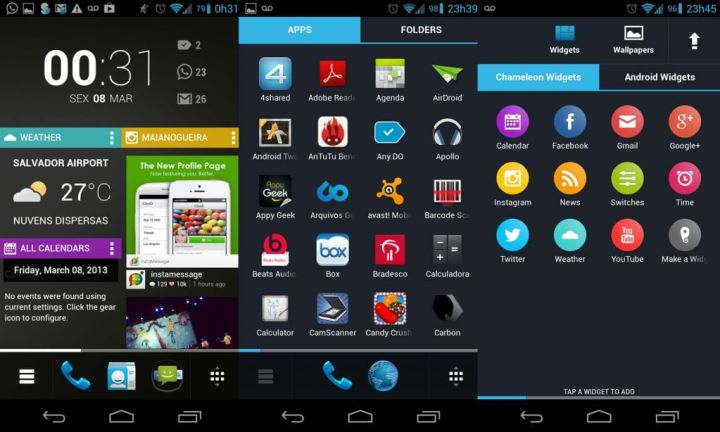 Chameleon Launcher no Galaxy Nexus GT-i9250