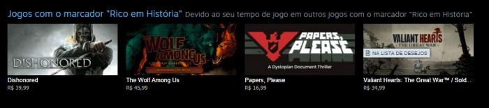 Recomendação Steam - Rico em História