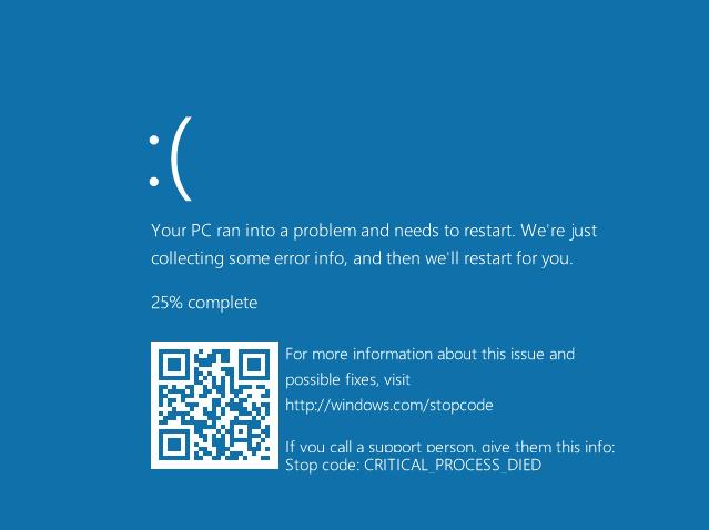 Tela Azul da Morte com QR Code