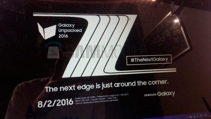 Convite para o evento de lançamento do Galaxy Note 7