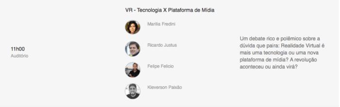 VR - Tecnologia X Plataforma de Mídia