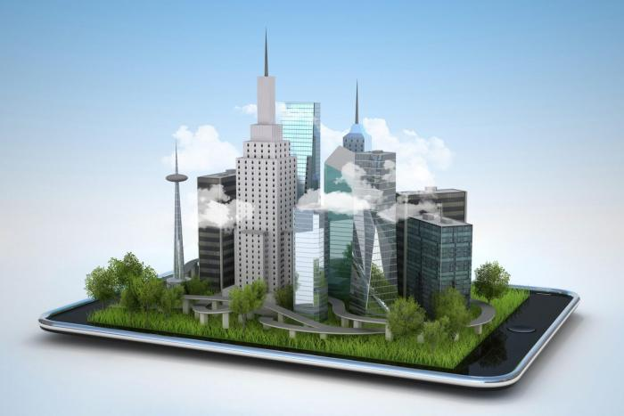 Image of tablet with city