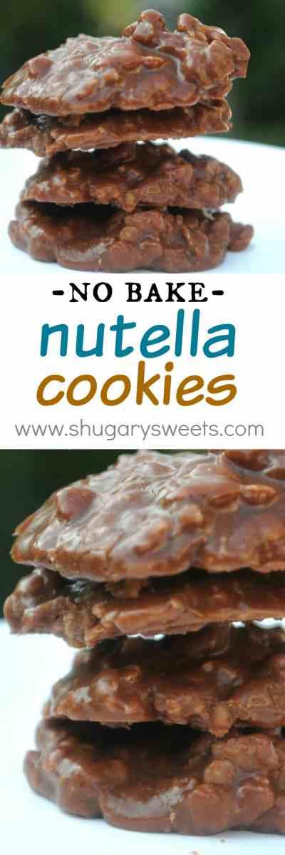 Nutella No Bake Cookies - Shugary Sweets