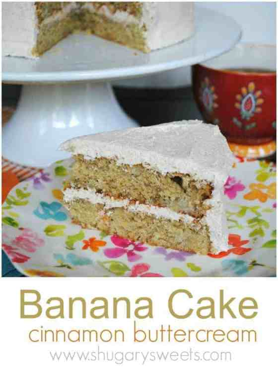 Banana Cake recipe with cinnamon buttercream frosting
