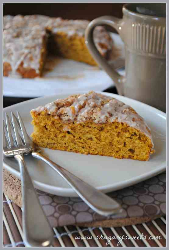Pumpkin Coffee Cake: moist and delicious, makes two cakes (perfect for freezing)!!