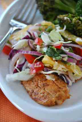 Spicy Grilled Fish with Citrus Slaw from @shugarysweets