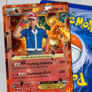 Pokemon Card Birthday Invitations
