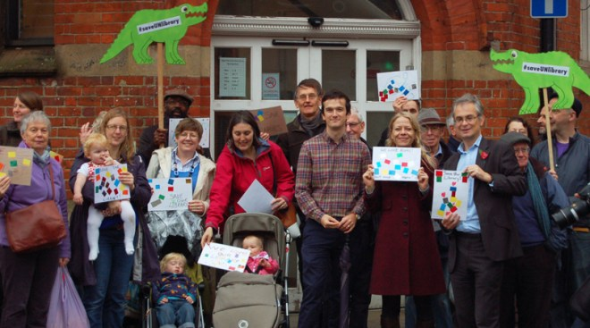 Sian with campaigners for Upper Norwood library
