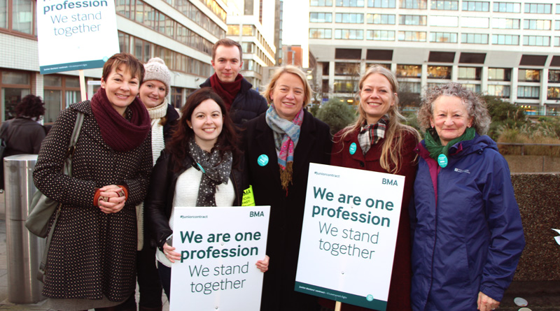 Caroline Lucas, Natalie Bennett, Sian Berry and Jenny Jones with junior doctors in London