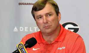 Georgia head coach Kirby Smart answers a question during the Bulldogs' press conference in Athens, Ga., on Monday, Sept. 5, 2016. (Photo by Steven Colquitt)