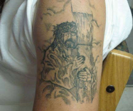 Weird Bad Jesus Tattoo - Complete Mess