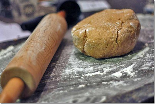 wooden rolling pin baking