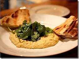 hummus with arugula and pita